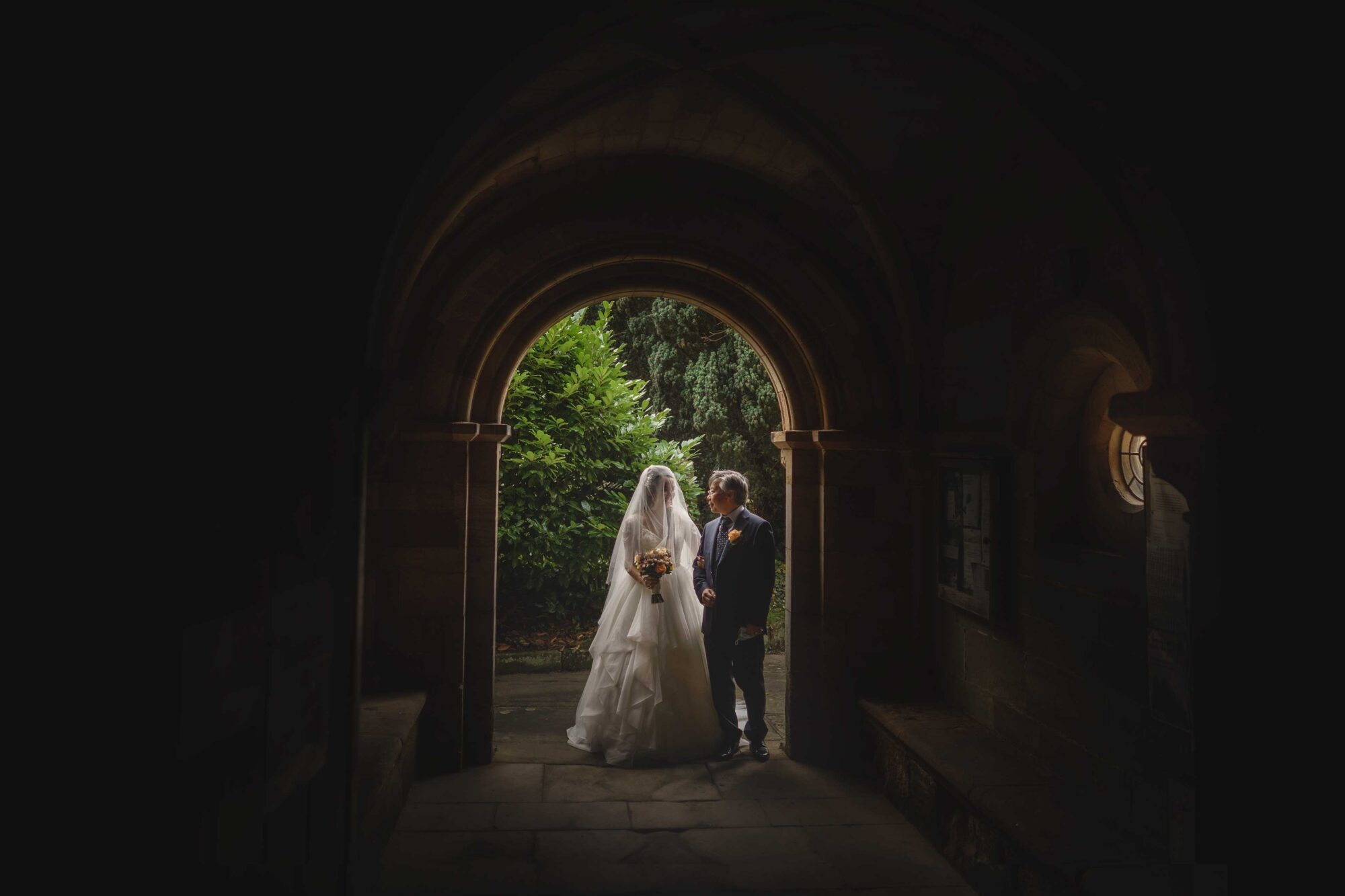 The bride and her Father waiting outside the Church in Yorkshire